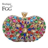 Boutique de FGG Multicolore Diamond Femmes Embrayage Sacs de soirée Bridal Crystal Flower Sacs à main sacs à main de la fête de mariage Q1106