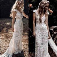 Gothic Hippie Lace Country Wedding Dress 2022 Fall V Neck Cap Sleeves Bohemian Vintage Bridal Gowns Sweep Train Backless Mermaid Vestido De Novia Chic AL3184