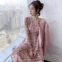 New spring and Autumn Fairy Forest V-neck Chiffon floral dress with Pink High Waist Maternity Skirt