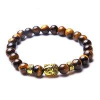 Pulsera de moda hecha a mano con cuentas de 8 mm de tigre de tigre de piedra, yoga, yoga, cabeza, cabeza de Buda