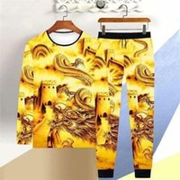 Men's Tracksuits Men Chinese Style Long Sleeve T-shirt Trousers 2 Piece Clothes 2021 Fashion Dragon Fish Printed Spring Casual Sports Suit