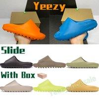 Adidas Yeezy 2021 Sandalet Erkek Kadınlar Slayt Kemik Beyaz Toplam Turuncu Reçine Dünya Kahverengi Kurum Çekirdek Köpük Koşucu Plaj Terlik Erkek Sneakers ABD 5-11