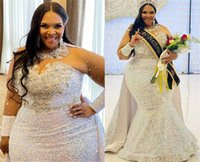 2021 Plus Size Arabic Aso Ebi Sparkly Mermaid Sequined Prom Dresses Beaded Ctystals Sheer Neck Evening Formal Party Second Reception Gowns ZJ294