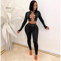Sexy Two Piece Set Lace Up Crop Top Pant Sweat Suits Party Club Birthday Outfits For Women Bodycon Tracksuit Women's Pants & Capris