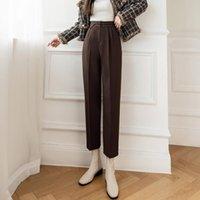 Women's Pants & Capris Fashon Y2k Women 2021 Autumn Winter Thick Woolen Casual Trousers Female Korean Version High Waist Harajuku 36F