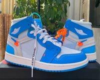 Alta Qualidade OG Jumpman 1S Basquetebol Sapatos Design Junta UNC Blue Mens Mens Fashion Sneaker
