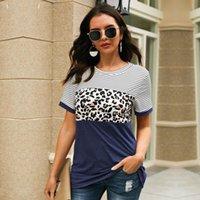 여성용 T 셔츠 2021 O-Neck 짧은 Streetwear 긴 패치 워크 정규제 Msfilia