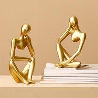 الكائنات الزخرفية التماثيل مجردة مفكر النحت تمثال غرفة الإبداعية الحجر الرملي هدية ديكور المنزل