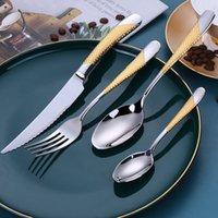 4 pçs / set Cutlery Set 304 Talheres de Aço Inoxidável Faca De Faca De Forquilha Colher De Jantar Conjunto De Cozinha Louços de Cozinha Alta Qualidade 1388 V2