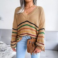 Loose sweaters pullover striped long sleeve and casual women 's sweater Europe rainbow 2021 Autumn Winter new clothes