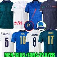 EURO FINALE 2021 Italie Soccer Jerseys Insigne Champions 21 22 Immobile Jorginho Bonucci Verratti Chiesa Locatelli Kit Enfants Maglie Da Calcio Fans Version du joueur