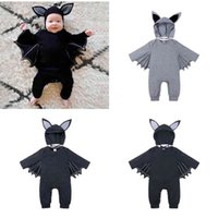 Infants Baby 3D Bat Halloween Romper with Animal Head Cap Hat 2 Piece Jumpsuit Cartoon Clothes Newborn Kids Bats Overall Toddlers Playsuit Performance Wear G98TWW4