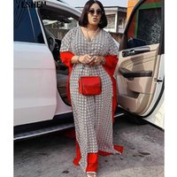 Ethnic Clothing 2 Piece Set Women Africa Clothes African Dashiki Chiffon Print Two Suit Long Dress Pants Sets Party Dresses Plus Size Robe