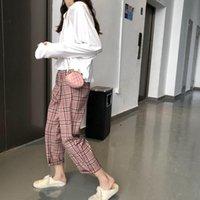 Waist Bags PU Material Women's Messenger Bag Shell-Shaped Chain Check MINI Black Pink Shoulder Fashion All-Match Lady
