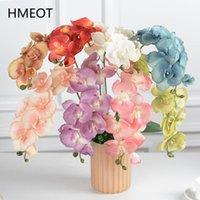 Fiori decorativi GATHONS Fiore artificiale 8 teste orchidea ramo falso Phalaenopsis Piante in vaso Piante in vaso Home Decor Arrangiamento di nozze Post