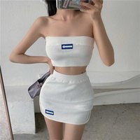 Korea Ulzzang sexy short tube top women's two-piece suit plus size slim Harajuku knitted punk hip hop Mini Skirt ins women 210608