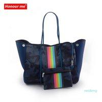 Selling Beach Bag 2021 Wholesale Leopard Printing Neoprene Tote Shoulder Hands For Women 3265