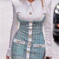 2020 Yeni Tasarım Avrupa Moda kadın Faux 2 Parça Dönüş Yaka Gömlek Yama Tüvit Yün Tek Göğüslü Kalem Bodycon Elbise