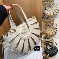 Shoulder Bags Straw Semicircle Design Small Tote For Women Summer Beach Woven Crossbody Bag Female Travel PU Handbags
