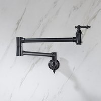 Wall Mounted Matte Black kitchen faucet solid Brass single cold Water Pot Filler
