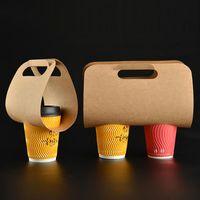 50/100 adet Kraft Kağıt Bardak Tutucu Taşınabilir İçecek Plastik Ambalaj Tek Kullanımlık Kahve Paleaway İçecek Hediye Paketi