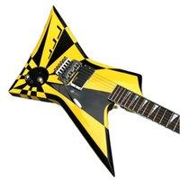 Jack Michael Sweet Flying V Stryper Black Yellow Stripe Electric Guitar Floyd Rose Tremolo Bridge, Whammy Bar, China EMG Pickup, Chrome Hardware, Triangle Pearl Inlay