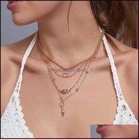 & Pendants Jewelrycrystal Moon Devil Eye Pendant Necklaces C-Shaped Diamond Beaded Dress Chains Women Mti Layer Tassel Alloy Necklace Jewelr