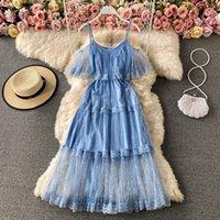 Casual Dresses 2021 Elegant Robe Slim Sexy V Neck Shoulder Strapless Camis Dress Women High Waist Hip A Line Lace Vestidos Summer