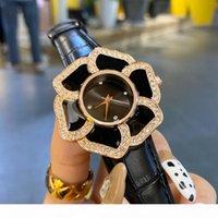 Beliebte casual top marke quarz armbanduhr für frauen mädchen kristall blume stil lederband uhren cha40