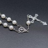 Imitation blanche Perle Catholique Jésus Jésus Madonna Chapelet Bracelet Christ Croix Pendentif Acrylique Pin Collier de bijoux religieux