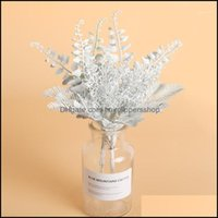 Decorative Wreaths Festive Party Supplies & Garden6Pcs Artificial White Flowers Diy Scrapbooking Small Bouquet Ferns Fake Plants Faux Grass