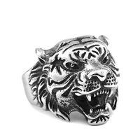 Antiquated Ring Retro Decoration Chrome Punk Style Animal Design Tiger Rings