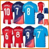 21 22 João Félix de Madrid Griezmann Jerseys Home Away Pé Suarez 2021 2022 Correa Koke Dembélé Carrasco M.Llorente Lemar Dembele Homens Kits Kits Football Shirts