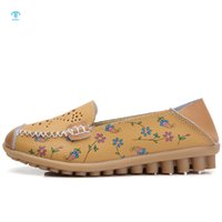 THRILLER Women's Casual Shoes Large Size Breathable Floral leather Loafers Moccasin Soft Sole Ballet Round Toe Flat