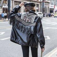 2020 2020 PU Cuero Chaqueta Mujeres suelta Remache con flecos Tassel Punk Abrigo corto de cuero de la motocicleta Outerwear Out Lady Coats Py116 84lx #