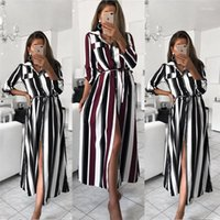 Womens Casual Dresses Fashion Irregular Split Single Breasted Womens Designer Shirt Dresses Casual Females Clothing Colorful Stripe Print