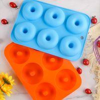 6 Cavidad antiadherente Donut Molde Donut Muffin Pastel de silicona Donut Bakeware Hornear Molde Molde Molde Pan DIY Jelly Candy Molde 3D GWD6607