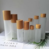 Storage Bottles & Jars Frosted Glass For Cosmetics With Bamboo Lid Covered Spray Bottle Mist Lotion Pump