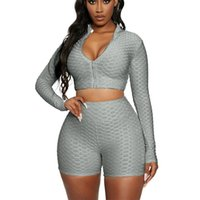Women's Tracksuits Summer Female 2 Pieces Suit Set Simple Casual Solid Color Stand Collar V Neck Long Sleeve Crop Tops With Zipper Short Pan