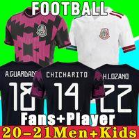 멕시코 축구 유니폼 홈 Copa America Fans 선수 버전 Camiseta 20 21 Chicharito Lozano Dos Santos 2021 축구 셔츠 남성 + 키즈 키트 세트 유니폼 Maillots