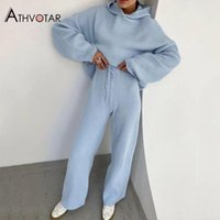 Women's Two Piece Pants ATHVOTAR Set Women Top And High Waist Sportswear Loose Fitness Hooded Tracksuits Sweat Suits