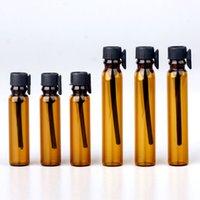 리필 가능한 샘플 향수 병 1ml 2ml 검은 투명 향수 에센셜 오일 로션 유리 소재 dropper 병