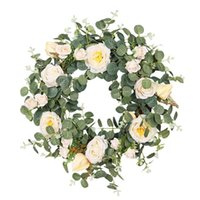 Artificial Camellia Wreath, Suitable For Indoor And Outdoor Home Wedding, Various Festivals, Blooming All The Year Round Decorative Flowers