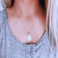 Bunny Necklace with Bad Cute Rabbit Pendant Stainless Steel Pendant Necklace Hip Hop Women Men Jewelry