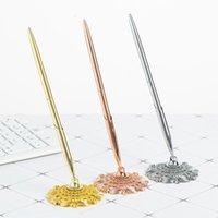 Balpennen 1 st mode metalen pen bijgevoegde basisstandaard bureau kantoor teller bruiloft gast teken el bedrijf ondertekenen