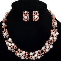 Imitation Pearl Bridal Crystal Jewelry Sets Necklace Stud Earrings Jewellery For Women African Earing Gift Wholesale &