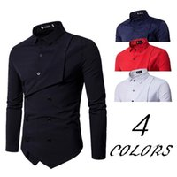 Men's Casual Shirts 2021 Spring Brand Shirt Personality Fake Two Irregular Slim British Long Sleeve Dress Camisa Masculina