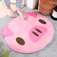 Carpets Creative Cartoon Piggy Pink Round Door Mat Bathroom Toilet Water Absorbent Non-slip Floor Rug Bedroom Kitchen Entrance Foot Mats
