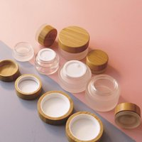 Storage Bottles & Jars Hopeck 100g Eco Friendly Transparent Frosted Glass Bamboo Bottle Cream Jar Empty Pot For Cosmetic Face Skin