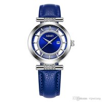 Mujer de lujo de alta calidad Reloj casual a prueba de agua deportes deportes relojes a cielo abierto correa de cuero Rhinestone azul Relogio vestido de pulsera